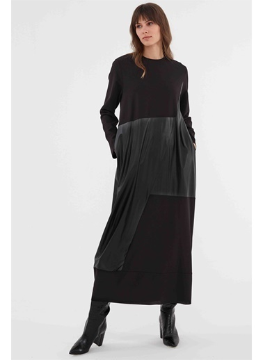 Vivencia Spor Rahat Form Garnili Kadın Elbise  Siyah